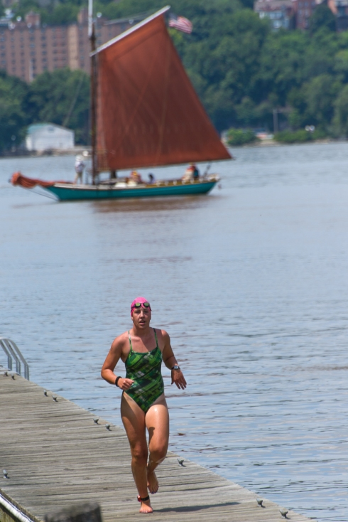 The first swimmer arrives in Beacon (23/24 minutes!)