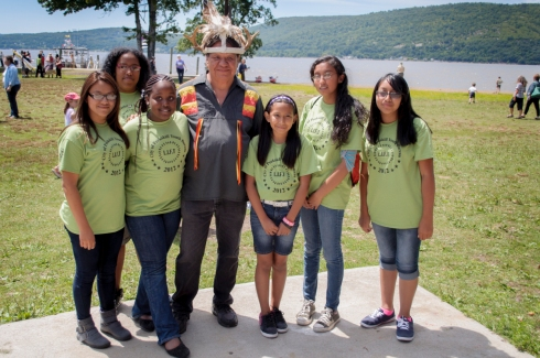 Chief Samuel George, Cayuga Nation with Children from The City of Peekskill  Youth Bureau