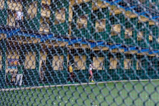 Through the protective fence-Chelsea Piers
